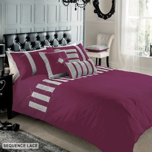 Signature Printed Duvet Cover Sequence Lace Bedding Set and Pillow Case