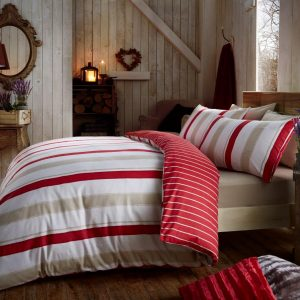 Cressida Brushed 100% Cotton Flannelette Printed Duvet Cover Bedding Set