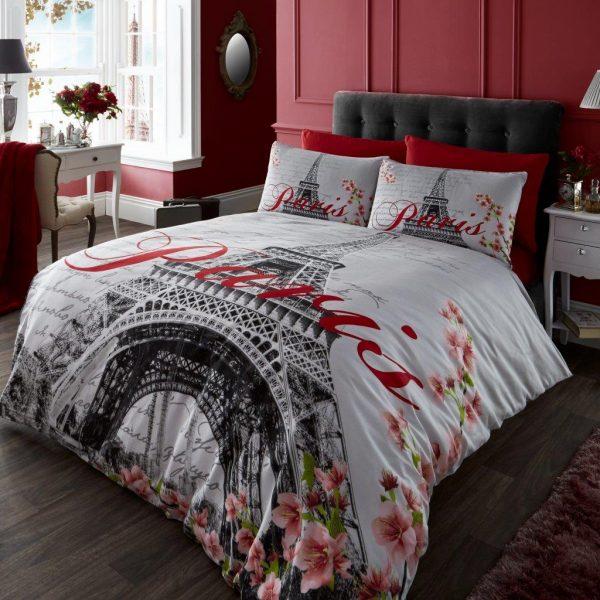 Paris Floral Premium Duvet Cover Bedding Set- Single, Double, King, Super King, Pillow Case