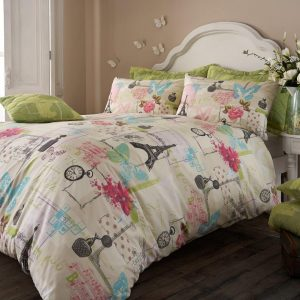 Pistachio Vintage Paris Duvet Cover Floral Bedding Set – Single, Double, King, Super King, Pillow Case