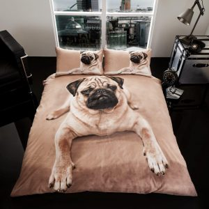 3D Animal Pug Dog Premium Duvet Cover Bedding Set – Single, Double, King,  Pillow Case