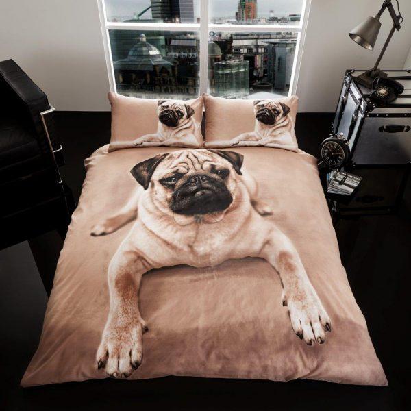 3D Animal Pug Dog Premium Duvet Cover Bedding Set – Single, Double, King,  Pillow Case