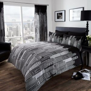 City Skyline Printed Duvet Cover Bedding Set – Single, Double, King, Super King