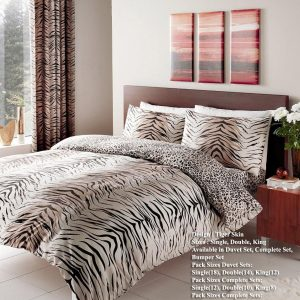 Tiger Brown Skin Printed Duvet Cover Bedding Set – Single, Double, King, Super King, Pillow Case