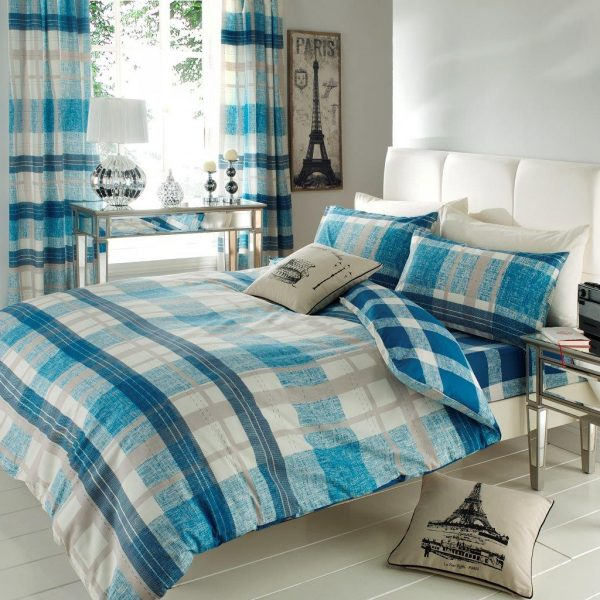Venezia Block Check Printed Duvet Cover Bedding Set – Single, Double, King, Super King