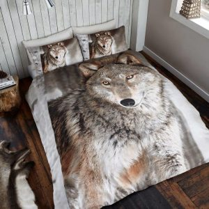 3D Animal Wolf Premium Duvet Cover Bedding Set – Single, Double, King, Pillow Case