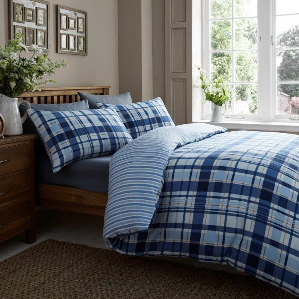 100% Brushed Cotton Crown Check Flannelette Printed Duvet Cover Bedding Set