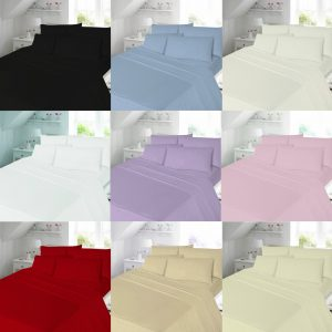 Plain Brushed Cotton Flannelette Duvet Cover Bedding Set – Single, Double, King, Super King, Pillow Case