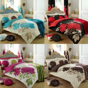 Kew Floral Printed Duvet Cover Bedding Set – Single, Double, King, Super King, Pillow Case