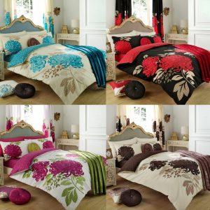 Kew Floral Printed Duvet Cover Bedding Set – Single, Double, King, Super King, Pillow Case