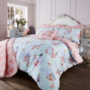 Love Bird Floral Heart Vintage Duvet Cover Bedding Set