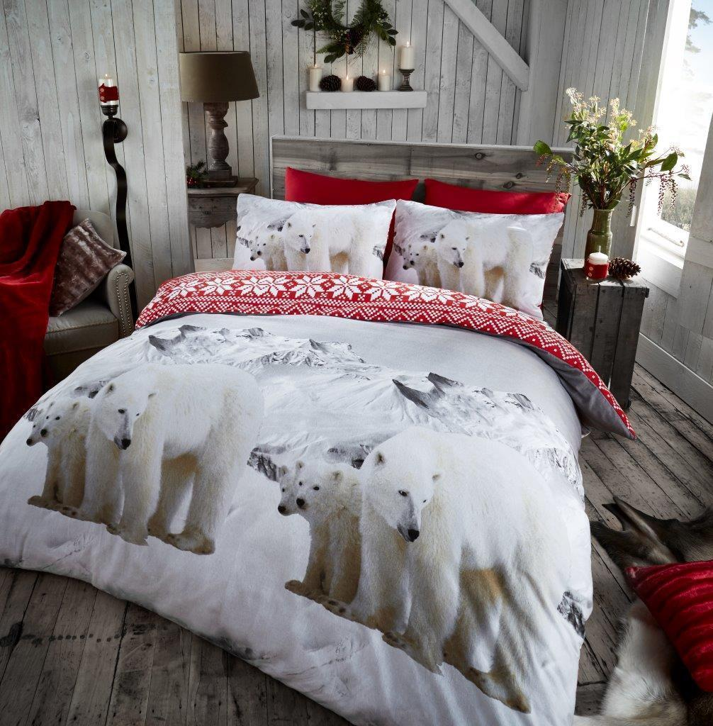 Polar Bear Animal 100 Brushed Cotton Flannelette Printed Duvet Cover Bedding Set Double King Payndoo Style