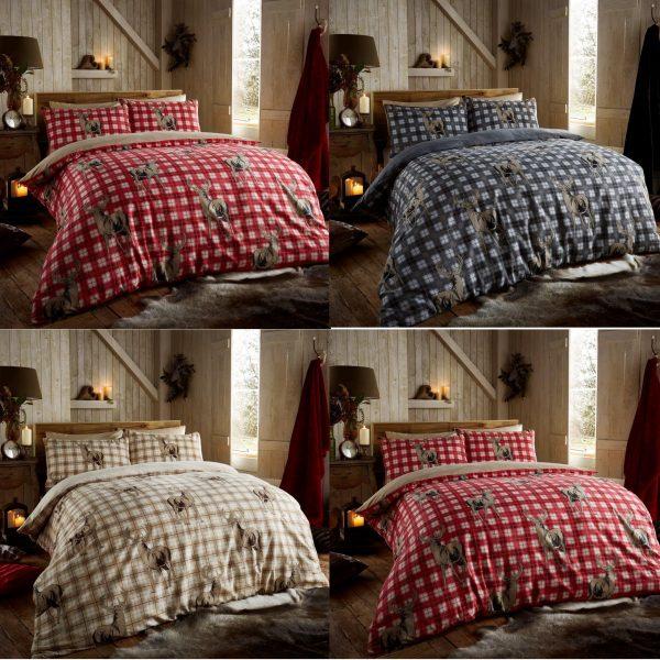 100% Brushed Cotton Richmond Flannelette Printed Duvet Cover Bedding Set
