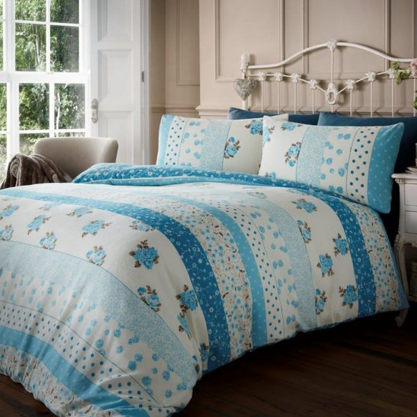 100% Brushed Cotton Vintage Floral Flannelette Printed Duvet Cover Bedding Set