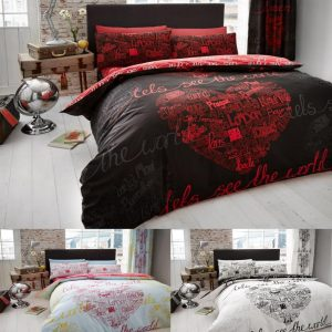 The World Printed Duvet Cover Floral Bedding Set – Single, Double, King, Super King, Pillow Case