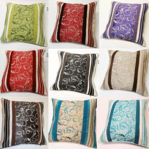 Floral Stripe Alta Embroidered Swirl Panel Cushion Covers Size 18×18 inch 45cm x 45cm (Pack of 4)