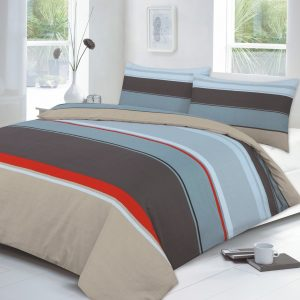 Carter Stripe Printed Duvet Cover Set – Single, Double, King, Super King in Colors