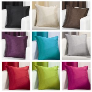 Plain Faux Silk Slubbed Cushion Covers 17×17 inch 45cm x 45cm (Pack of 4)