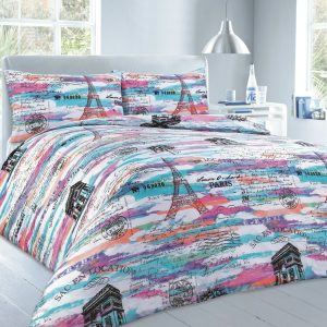 Printed  Paris Duvet Cover Set – Single, Double, King, Super King