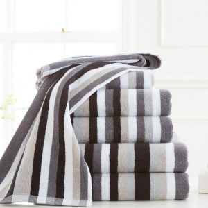 100% Egyptian Cotton Victoria Stripe Bath Towel – Pack of 2