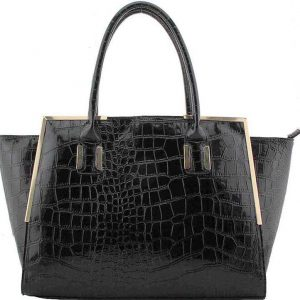 Fashion Designer Luxury Croc Handbag - Black, Nude