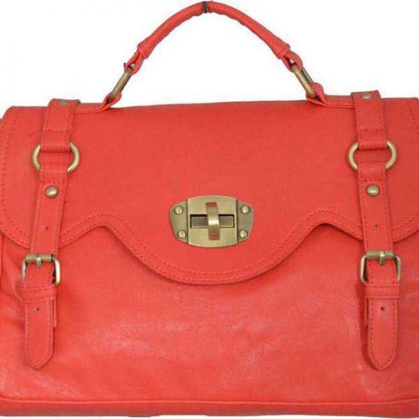 Fashion Designer Handbag With Shouldr Strap Coral Color