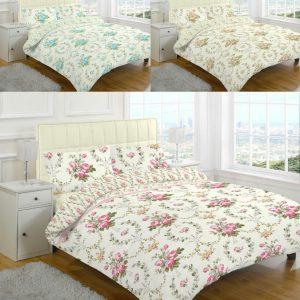 Brushed Cotton Flannelette Olivia Floral Thermal Duvet Cover Bedding Set -AYZ- Single, Double, King