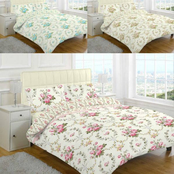 Brushed Cotton Flannelette Olivia Floral Thermal Duvet Cover Bedding Set -AYZ- Single, Double, King