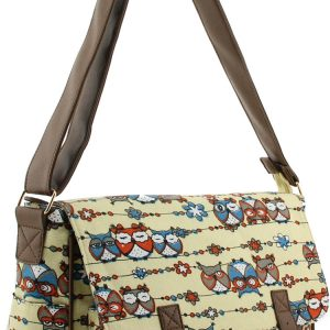 Ladies Owl Canvas Satchel Bag