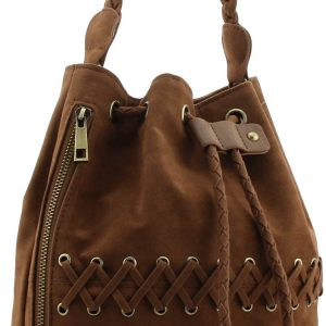 Suede Fashion Duffle Shoulder Bag, Color Black, Grey, Tan