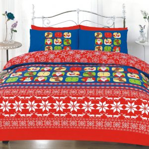 Merry Christmas Printed Duvet Cover Bedding Set -AYZ- Single, Double, King, Super King with Pillow Case