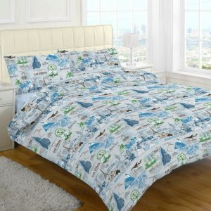 Mason Las Vegas Holiday Printed Duvet Cover and Pillow Case Bedding Set -AYZ- Single, Double, King, Super King
