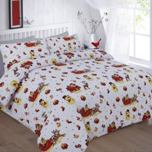 Christmas Noel Printed Duvet Cover and Pillow Cover Bedding -AYZ- Single, Double, King, Super King