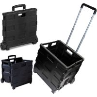 Tekbox Folding Shopping Cart Trolley Storage Box Crate with Wheels