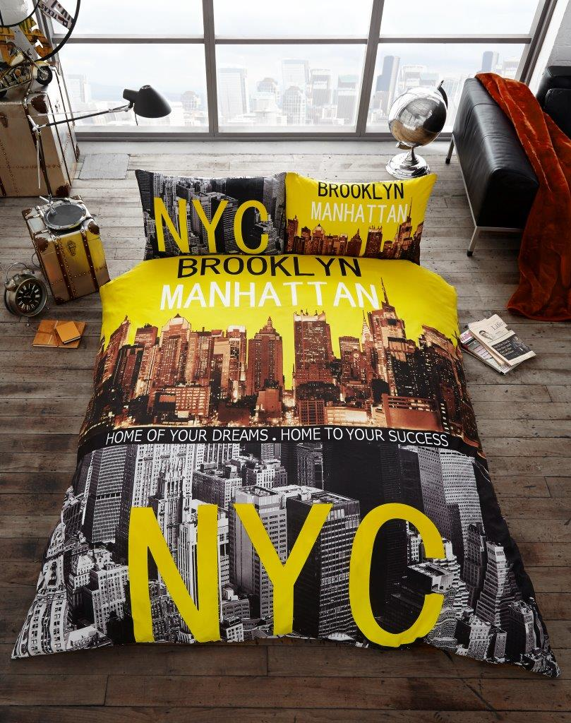 Brooklyn Manhattan Nyc Premium Duvet Cover Bedding Set