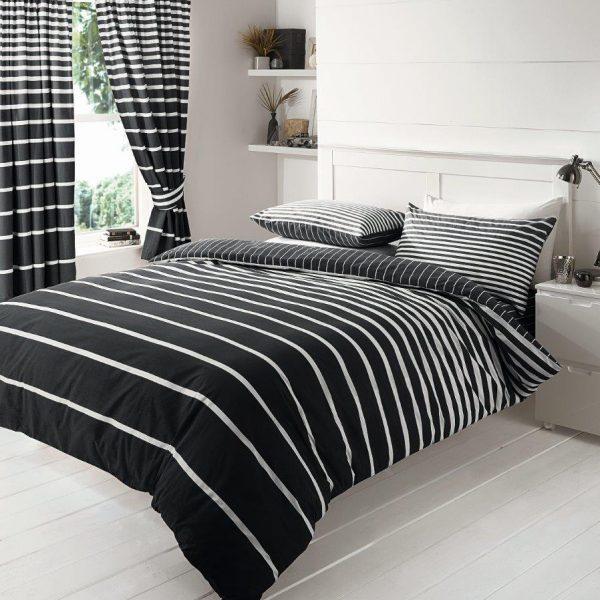 Linear Duvet Cover Black