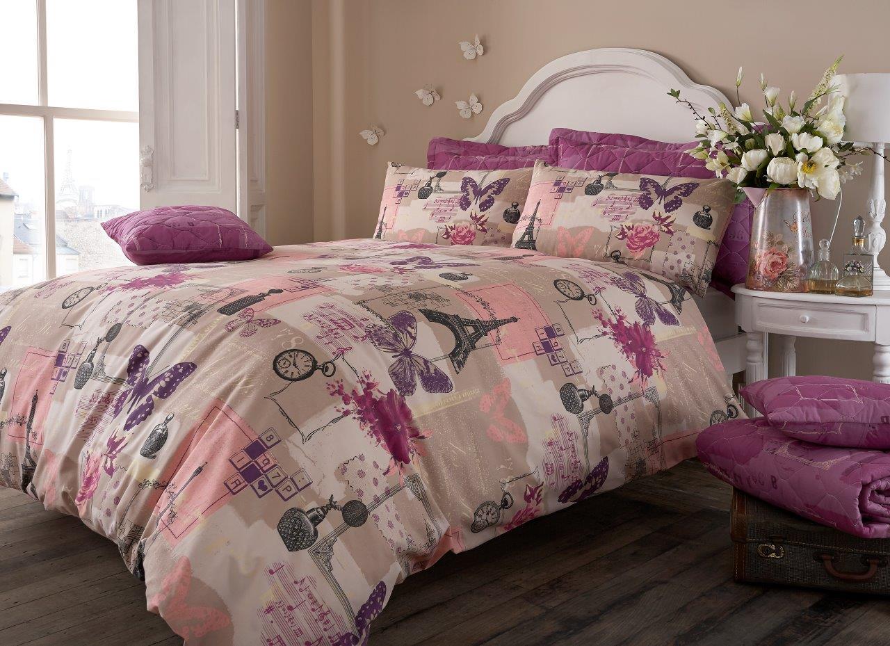 Pistachio Vintage Paris Duvet Cover Floral Bedding Set