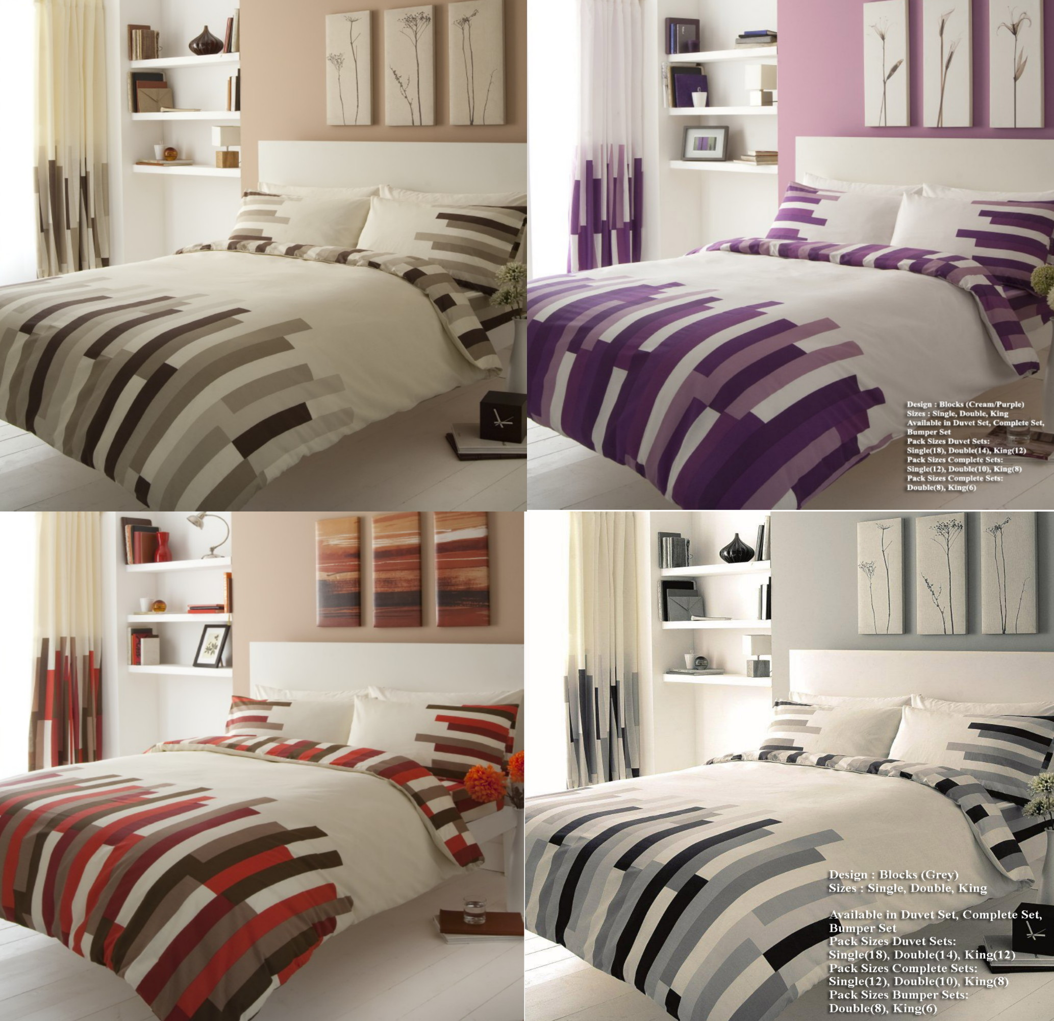 Bedding Blocks Duvet Quilt Cover Bedding Sets Single Double Super King Cream Grey Red Home Furniture Diy Zabbaan Com