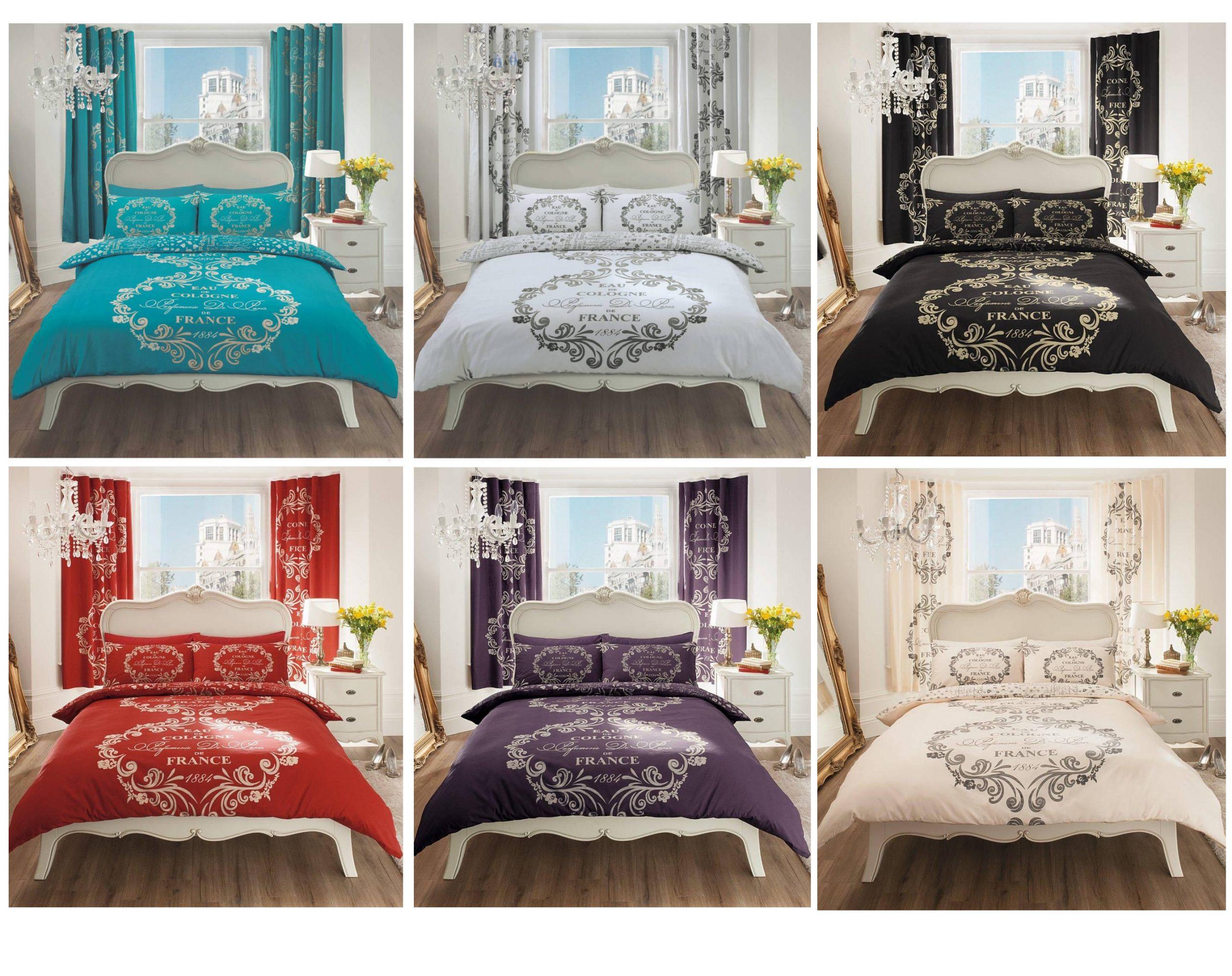 France 1884 Script Paris Modern Duvet Cover Floral Bedding Set Payndoo Style