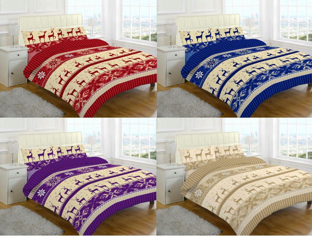 christmas stag brushed cotton flannelette nora thermal. Black Bedroom Furniture Sets. Home Design Ideas