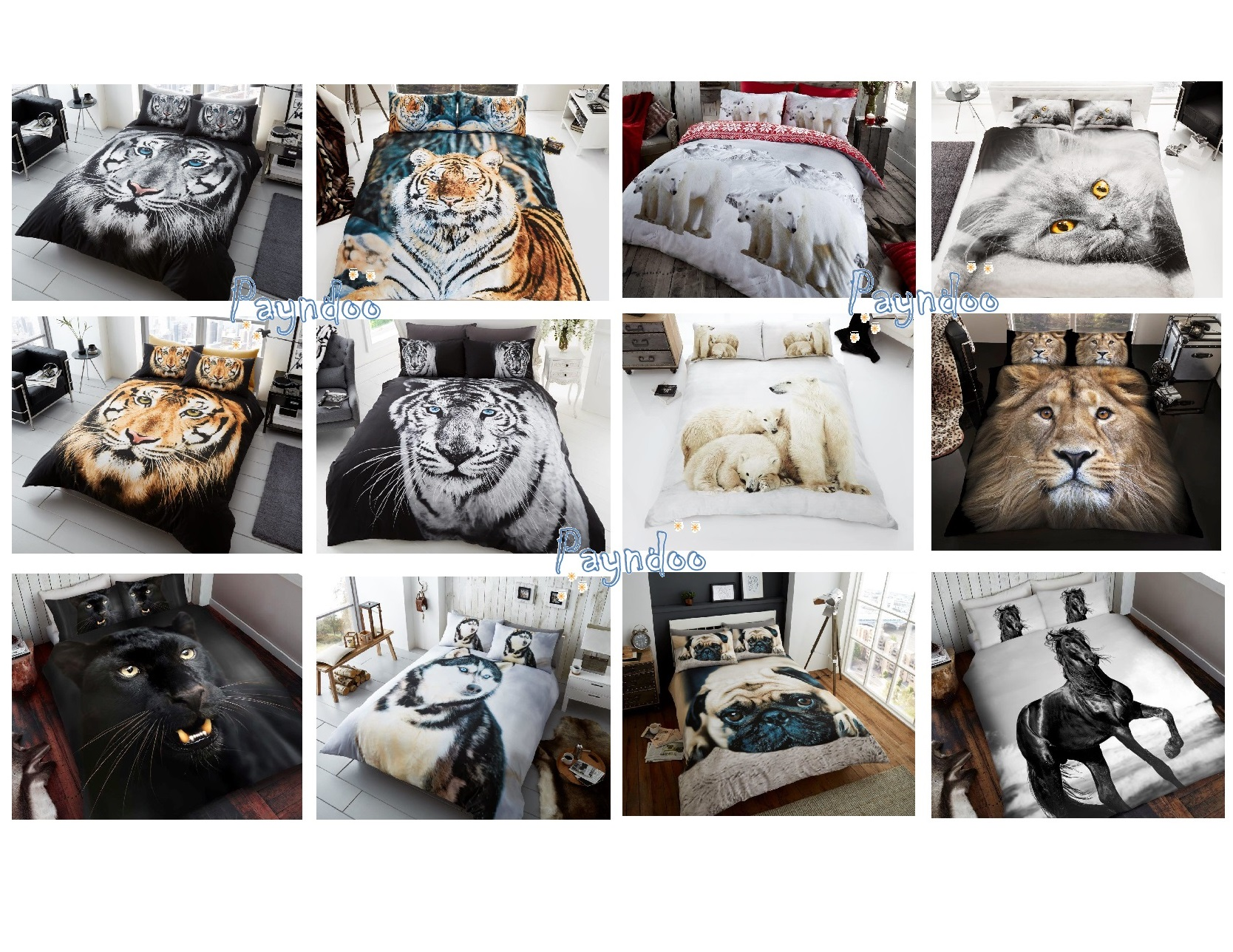 3d White Brown Tiger Face Husky Cat Leopard Horse Wolf