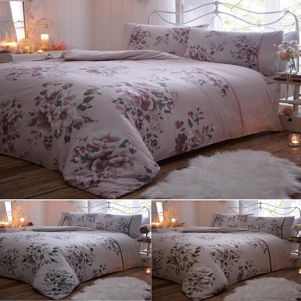 Willow Floral Flannelette Brushed Cotton Winter Duvet Cover Set Ebay